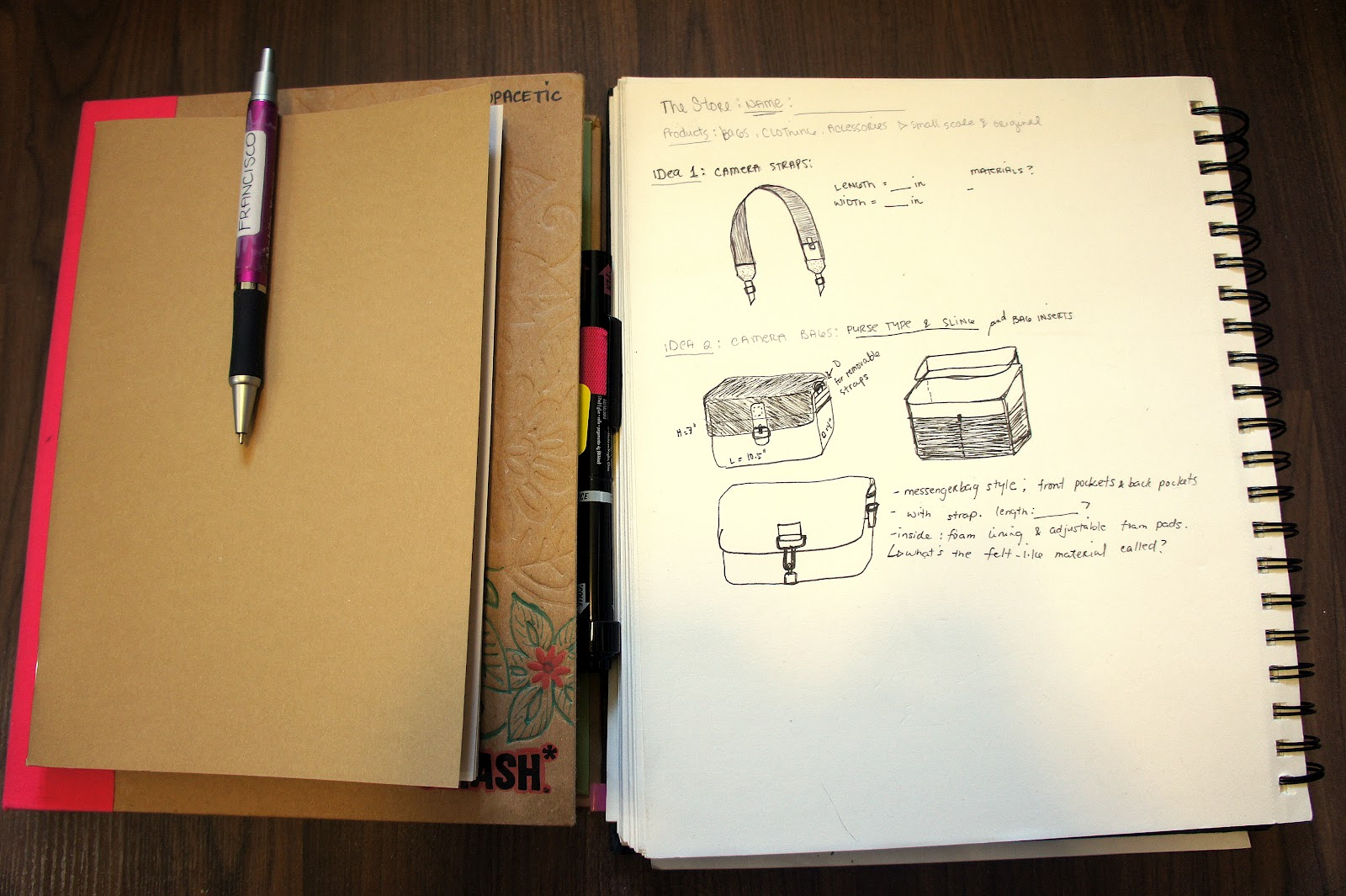notebooks and sketchbook