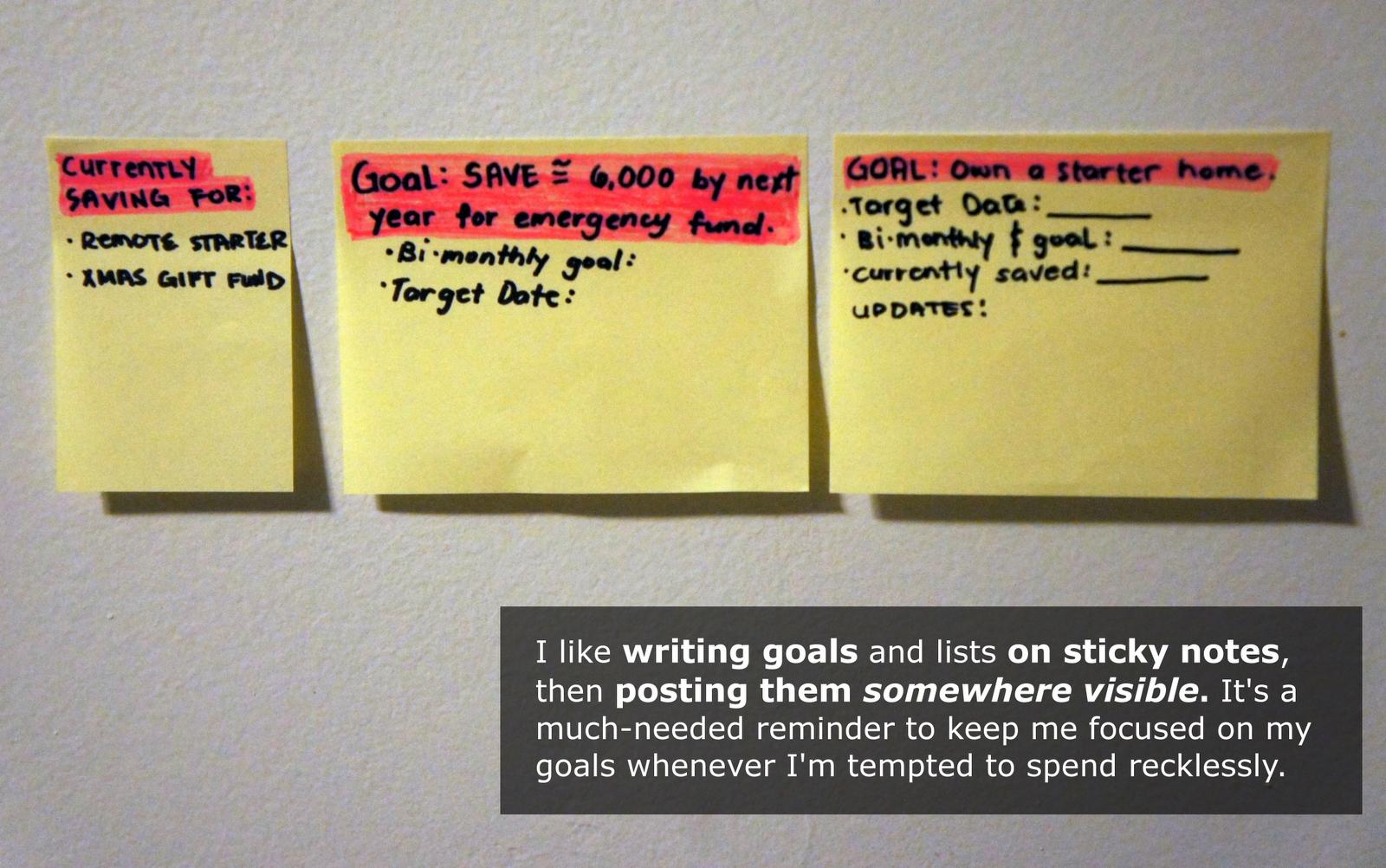 Goals on Sticky Notes
