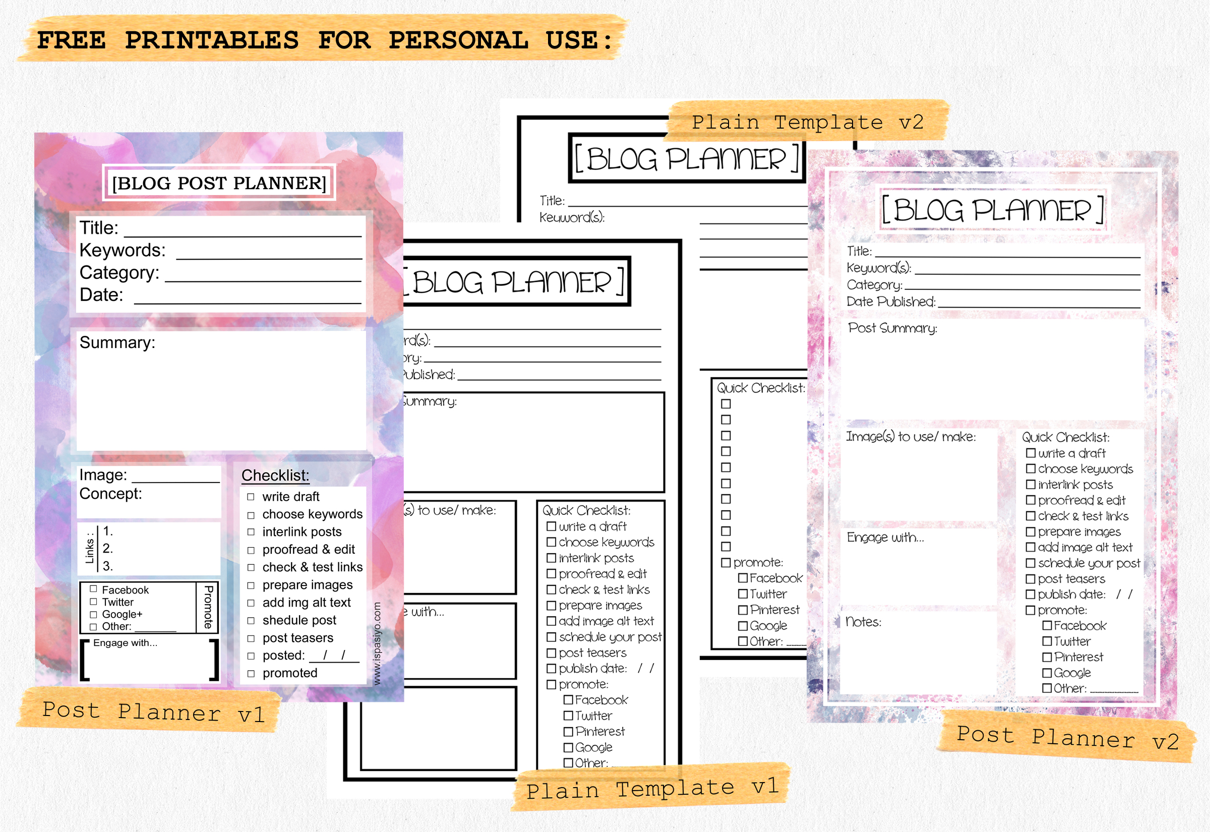 Printable Blog Planner Templates